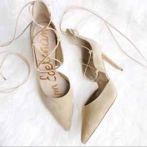 Sam Edelman Nude Suede Lace Up Strap Heels 9.5